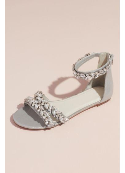 b7cb94879 David's Bridal Grey (Jeweled Metallic Ankle Strap Flat Sandals)