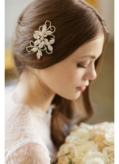 Hand-Wired Floral Comb with Swarovski Crystals - Wedding Accessories