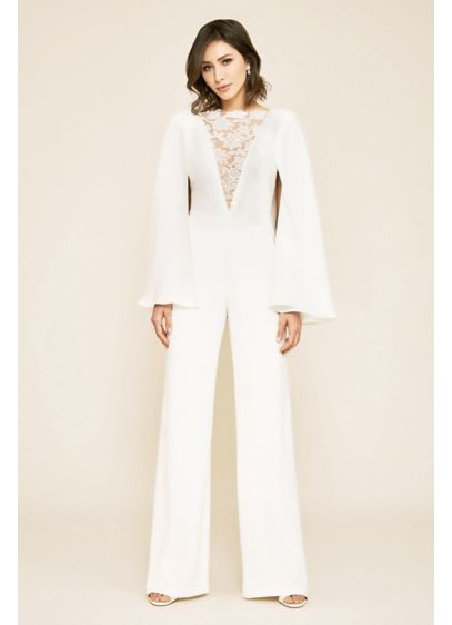 Farrell Crepe Lace Overlay Cape Sleeve Jumpsuit - Detailed with a plunging neckline, a lace overlay,
