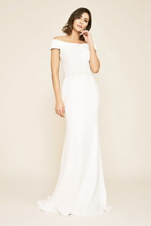 Crepe Off-the-Shoulder Cap Sleeve Wedding
