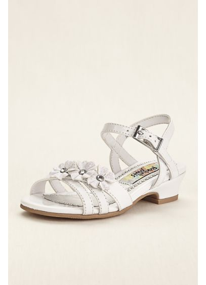 Rachel Shoes White (Flower Girl Sandal with Floral Embellishment)