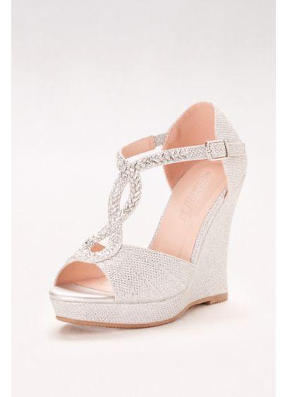 Grey (Crystal-Embellished T-Strap Glitter Wedges)