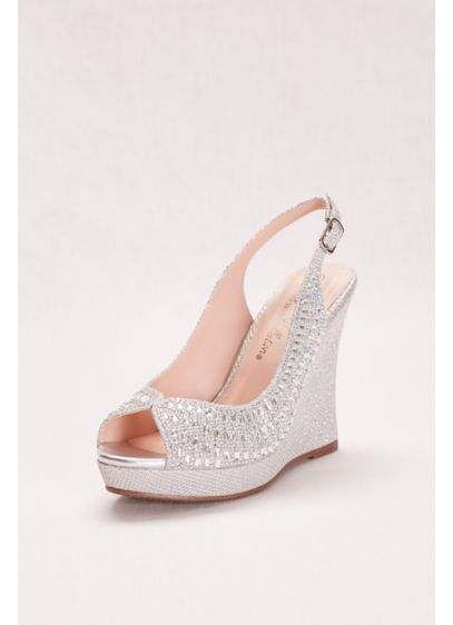 Blossom Grey (Glitter and Crystal Slingback Peep-Toe Wedge)