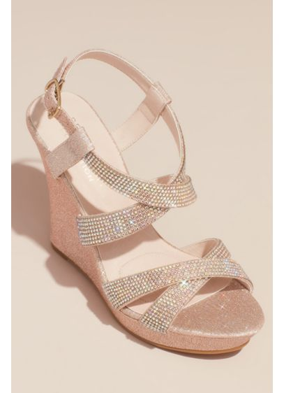 Crossing Strap Crystal Embellished Platform Wedges - Add height and glam to your special occasion