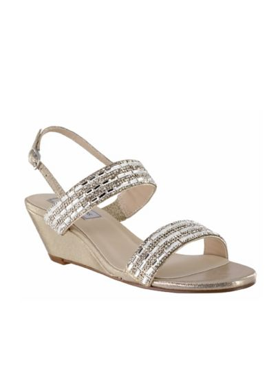 Touch Ups Grey (Beaded Strap Metallic Wedge Sandals)