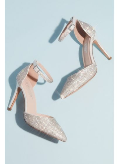 Blossom White (Micro Crystal Pointy Toe Ankle Strap Heels)