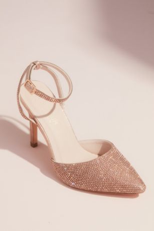 Blossom Pink Heeled Sandals (Crystal Embellished Pointed Toe Heels with Strap)