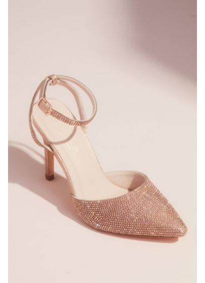 Crystal Embellished Pointed Toe Heels with Strap - With a crystal embellished pointed toe and a