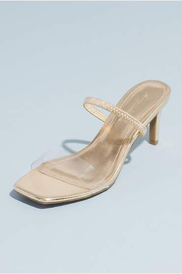 Square-Toe Clear Strap Metallic Mule Sandals