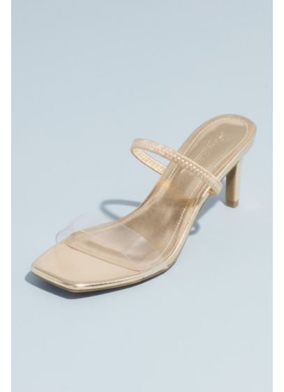 Bamboo Yellow (Square-Toe Clear Strap Metallic Mule Sandals)