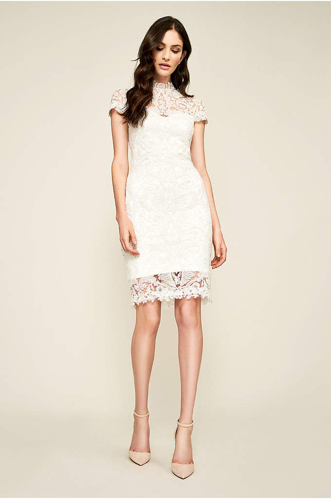 Bridget Lace Sheath Wedding Dress - Crafted of corded lace with illusion sleeves, this