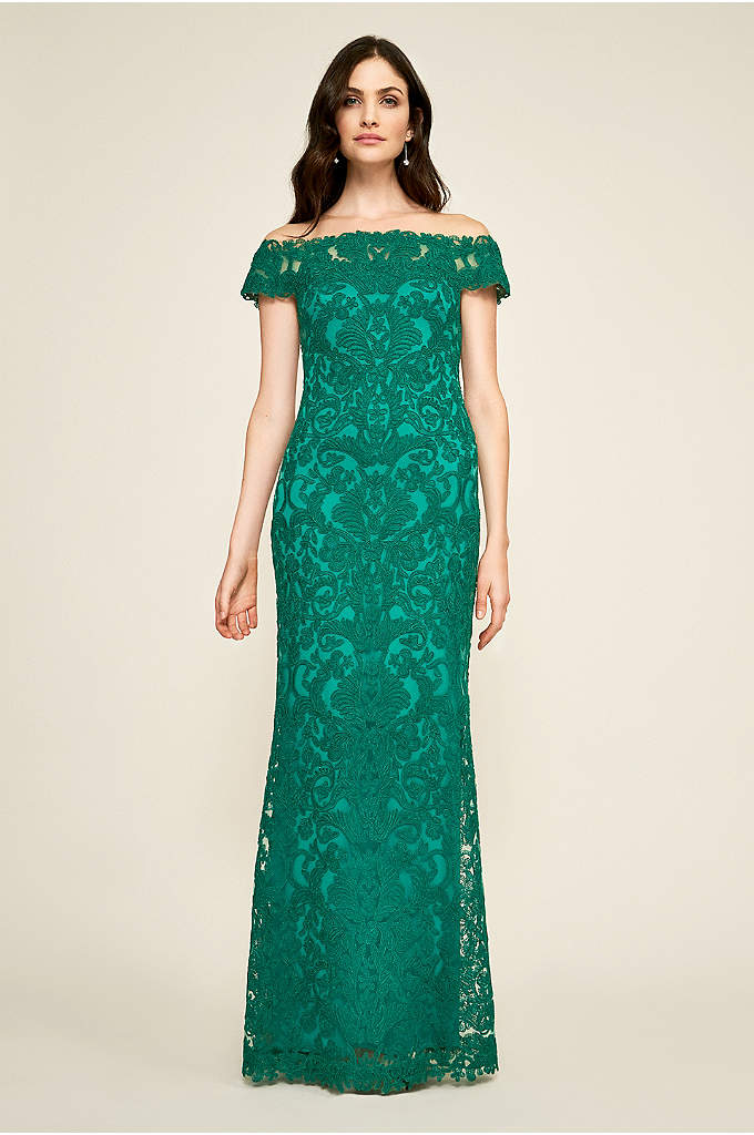 Dupre Off-the-Shoulder Gown - With its straight illusion neckline, off-the-shoulder cap sleeves,