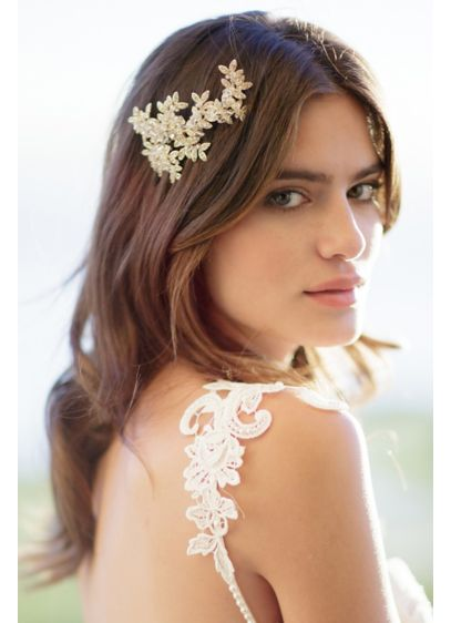 Crystal Laurel Barrette - Wedding Accessories