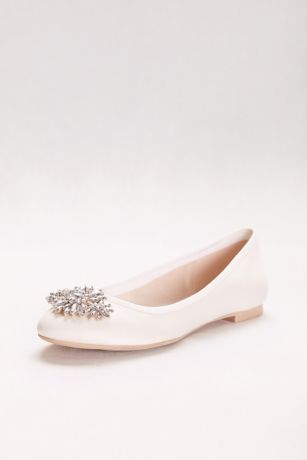 David's Bridal Ivory Ballet Flats (Satin Ballet Flat with Ornament)
