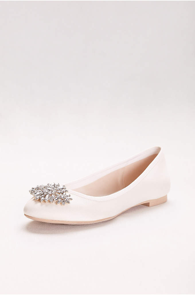 Satin Ballet Flat with Ornament - The perfect shoe to sneak under a long
