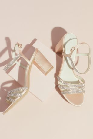 David's Bridal Ivory Heeled Sandals (Satin Block Heel Sandals with Pave Crystal Straps)