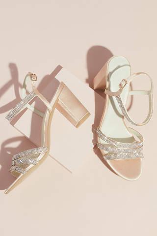 Sandalias de Tacón Ancho Satinado con Tiras de Cristal