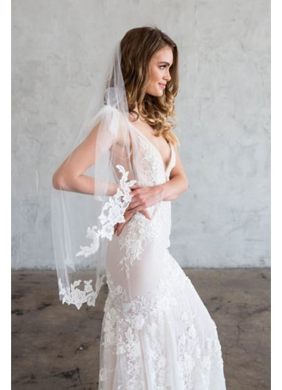 Silk Tulle Veil with Alencon Lace Edge - Wedding Accessories