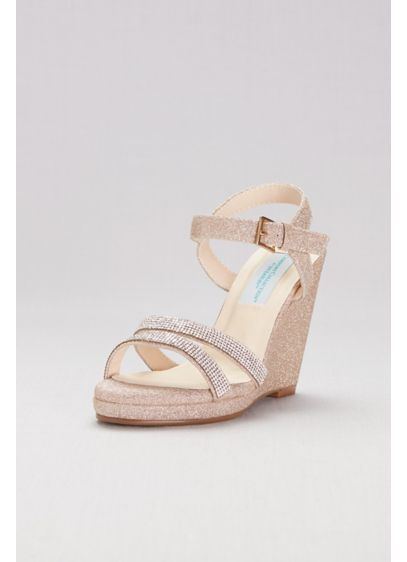 Glitter Platform Wedges with Crystal Straps - Big-night style with a does of comfort? Yes