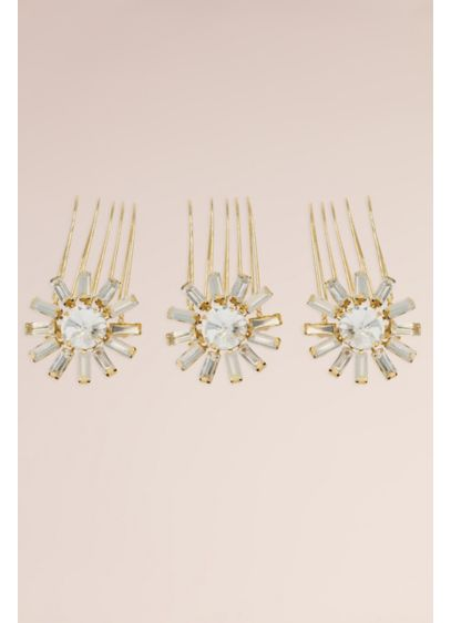 Hand-Wired Genuine Opal and Crystal Sun Comb Set - Wedding Accessories