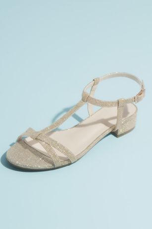 Grey;Yellow Flat Sandals (Glitter T-Strap Sandals with Low Block Heel)
