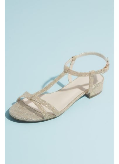 Glitter T-Strap Sandals with Low Block Heel - Sparkly style meets cushioned comfort in these T-strap