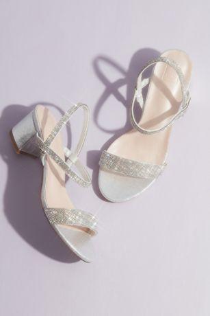 DB Studio Grey Heeled Sandals (Crystal-Encrusted Stretch Strap Low-Heel Sandals)