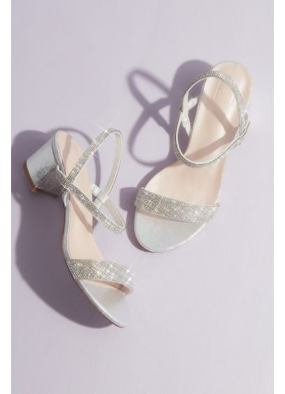 Crystal-Encrusted Stretch Strap Low-Heel Sandals - Slip on these easy dancing shoes: the stretchy