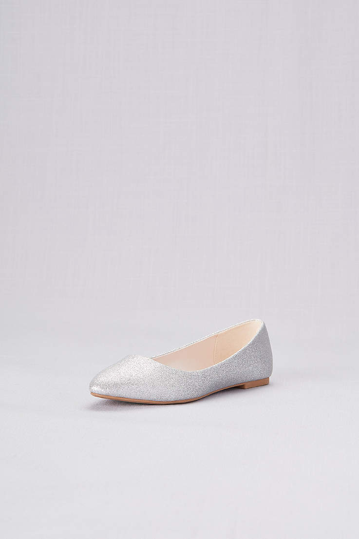 ded3945eba1a David's Bridal Grey;Yellow Closed Toe Shoes (Allover Glitter Pointed Toe  Flats)