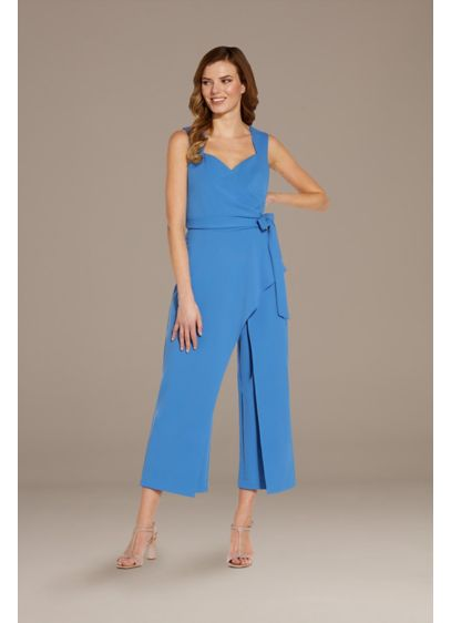 Crepe Jumpsuit with Open Back - This crepe jumpsuit features a flattering sweetheart neckline,