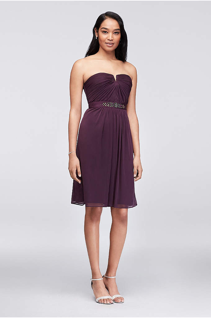 Embellished-Waist Short Mesh Bridesmaid Dress - Featuring a prettily pleated bodice that dips into