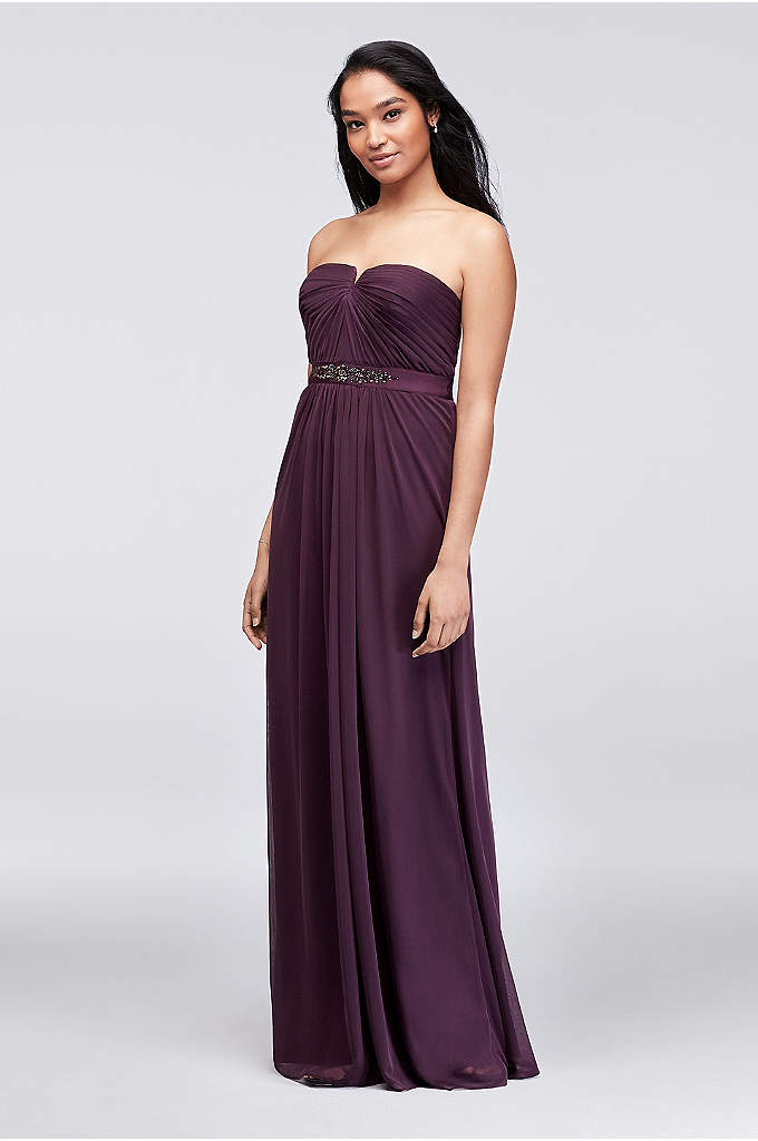 Embellished-Waist Long Mesh Bridesmaid Dress - Featuring a prettily pleated bodice that dips into
