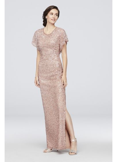 Beaded Flutter Sleeve Scoopneck Sheath Dress - Trimmed in pearls and embellished with allover beads
