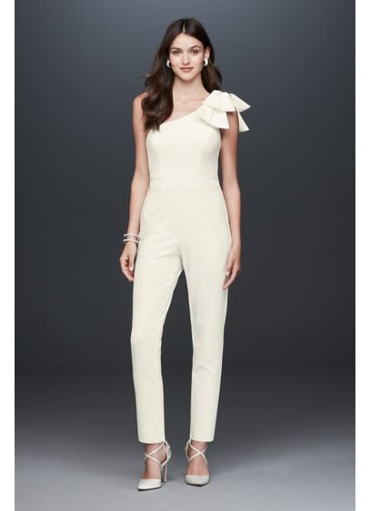 Crepe One Shoulder Tapered Jumpsuit with Bow - For a contemporary-cool look for your wedding day