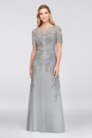 Vine-Beaded Mesh Gown with Elbow-Length Sleeves | David\'s Bridal