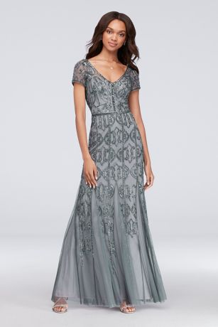 Beaded Mesh V-Neck Sheath Gown with Cap Sleeves | David\'s Bridal