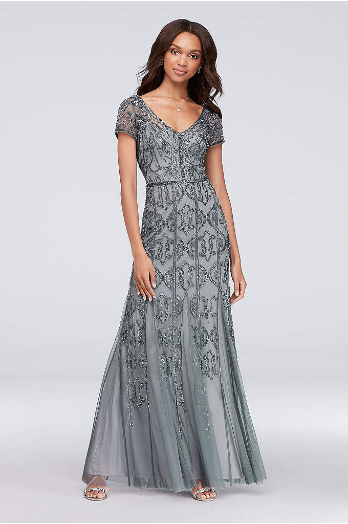 Beaded Mesh V-Neck Sheath Gown with Cap Sleeves - Embellished with beautiful beading from the illusion cap