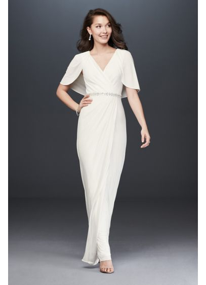 Faux-Wrap Jersey Capelet Gown with Embellishment - No need for extra accessories: This jersey gown