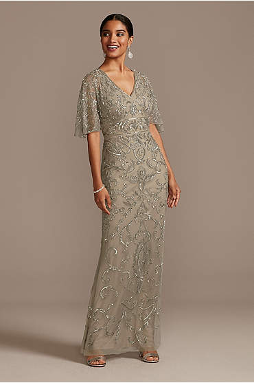 Beaded Mesh Overlay Gown with Flutter Sleeves