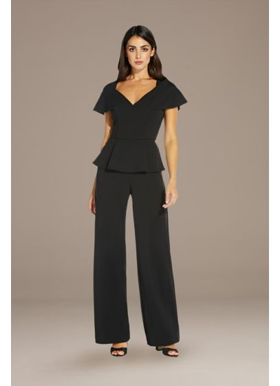 Long Jumpsuit Short Sleeves Cocktail and Party Dress - Adrianna Papell