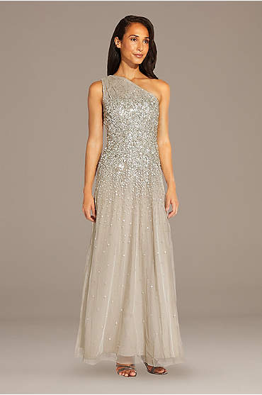Mesh One-Shoulder Gown with Scattered Sequins