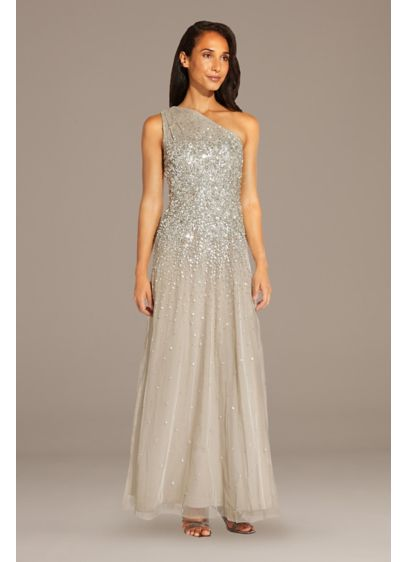Mesh One-Shoulder Gown with Scattered Sequins - Sequins radiate from the bodice of this mesh