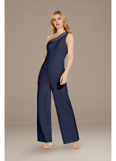 Beaded One Shoulder Jumpsuit - Dare to be beautifully different in this elegant