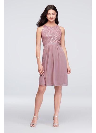 4f2778fe Sequin and Mesh High-Neck Short Bridesmaid Dress | David's Bridal