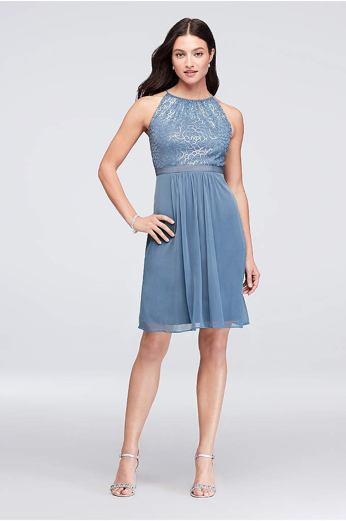 Sequin and Mesh High-Neck Short Bridesmaid Dress - The perfect amount of glitz and glam for