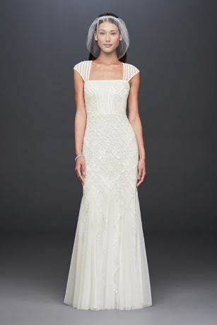 Square-Neck Mesh Sheath Gown with Allover Beading | David\'s Bridal