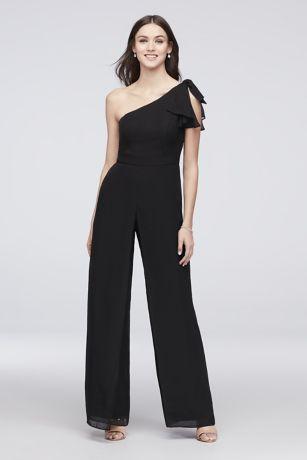 Black One Shoulder Chiffon Bridesmaid Dress
