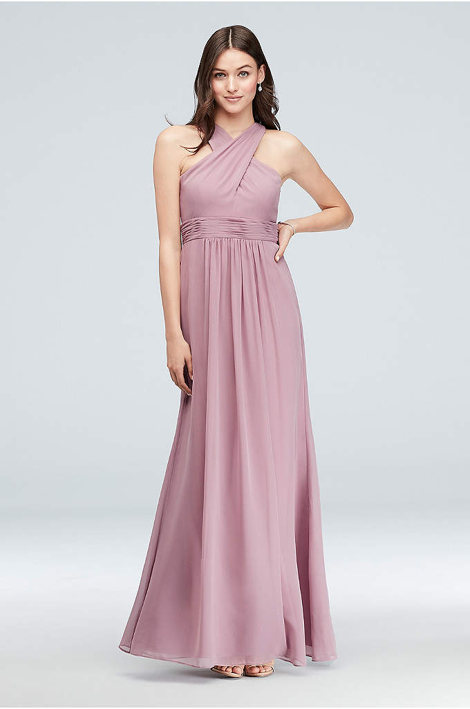 Cross-Front Chiffon Bridesmaid Dress - The crossover halter neckline and pleated waistband of