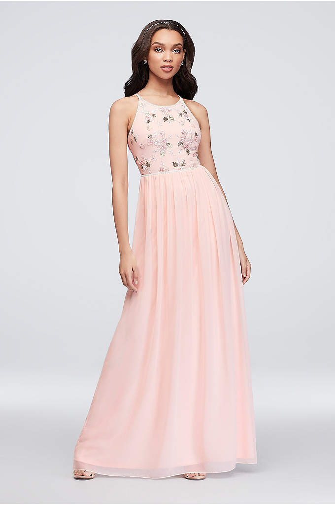 Floral Beaded High-Neck Georgette Tank Dress - This long georgette bridesmaid dress is bedecked with
