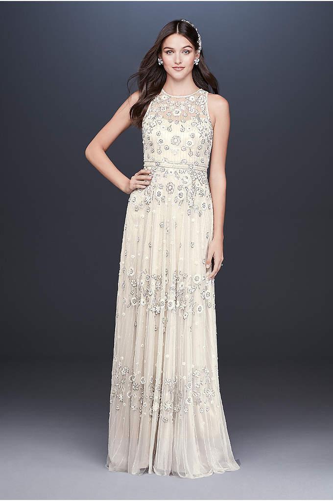 Floral Beaded Tulle Sheath Wedding Dress